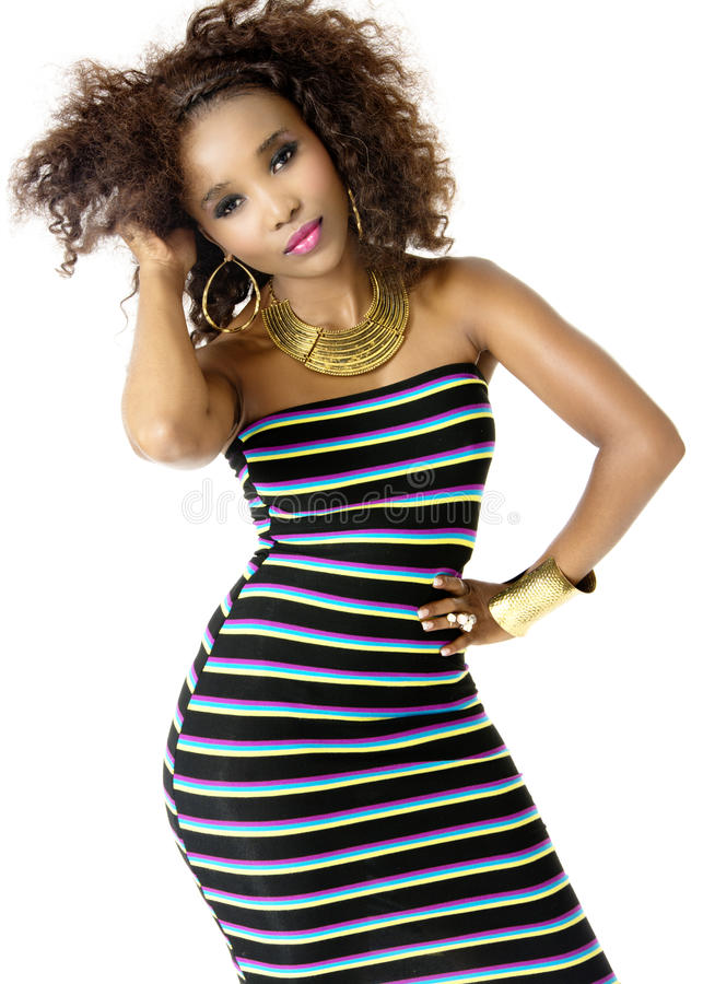 Wearing Striped Dress modelo fêmea africano, joia do ouro imagem de stock