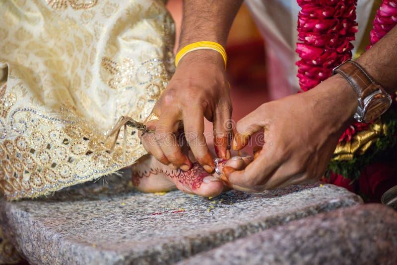 Wearing Toe Ring At A Tamil Hindu Wedding Stock Image Image of