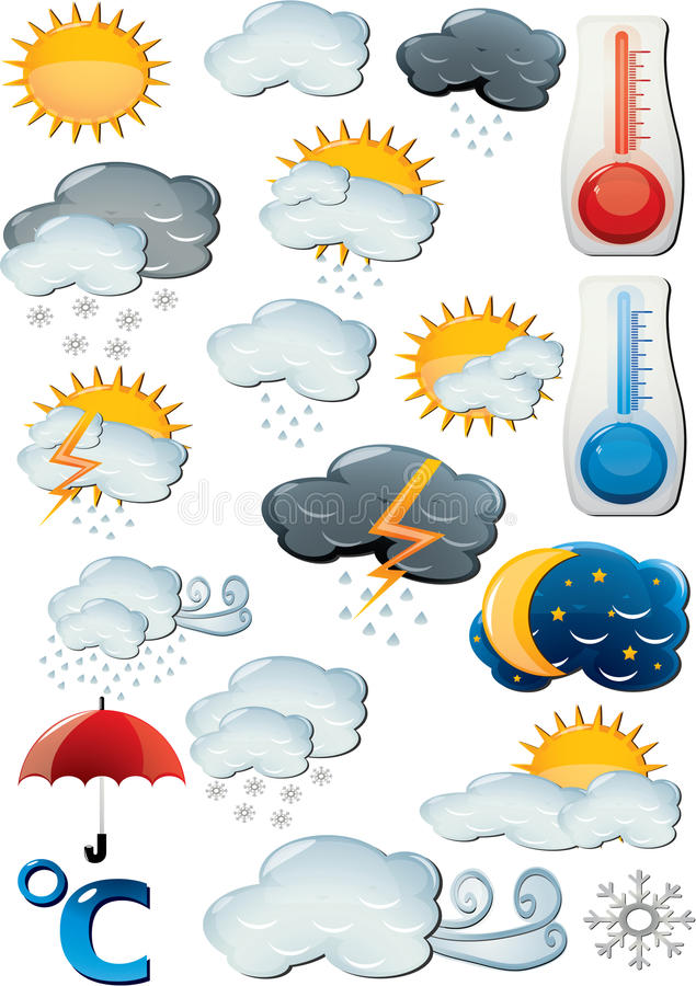Weather. And forecast icon set royalty free illustration