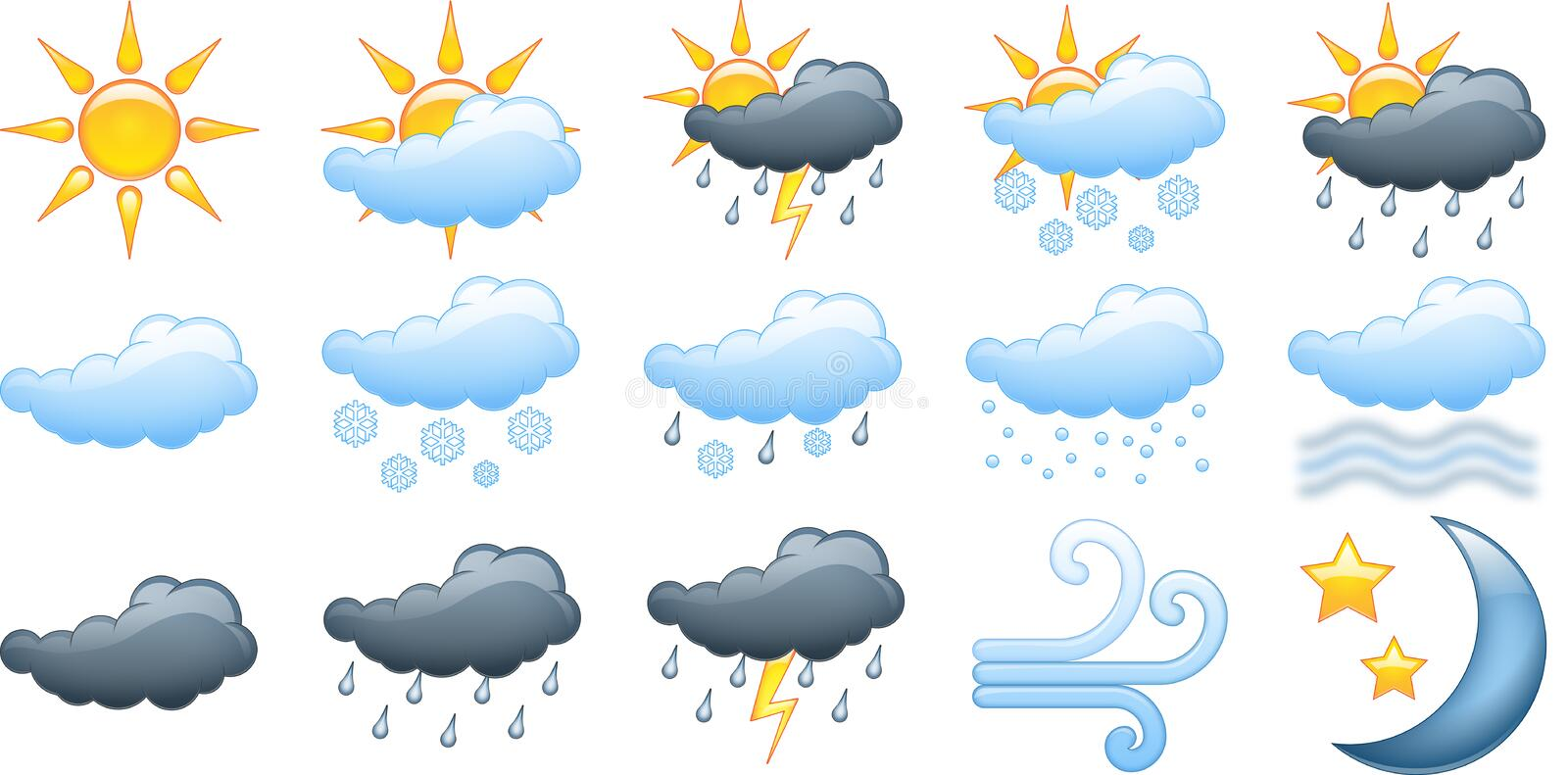 Weather. 15 different icons / illustrations that can be used for weather forecasts etc vector illustration