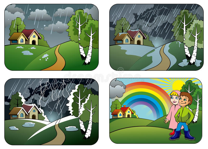 Weather. Set of different weather conditions: hail, downpour, thunderstorm and rainbow, vector illustration vector illustration