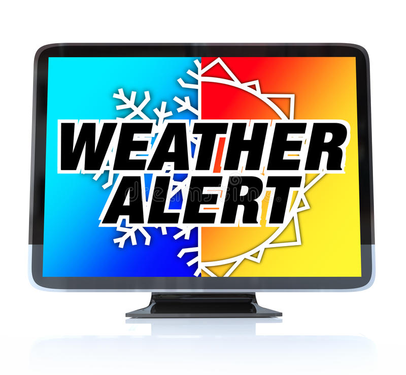 Weather Alert - High Definition Television HDTV. A HDTV television with the words Weather Alert and a snowflake and sun on the screen vector illustration