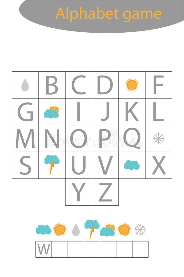 Weather Alphabet Game For Children, Make A Word, Preschool Worksheet  Activity For Kids, Educational Spelling Scramble Stock Vector -  Illustration Of Letters, Riddle: 176648416