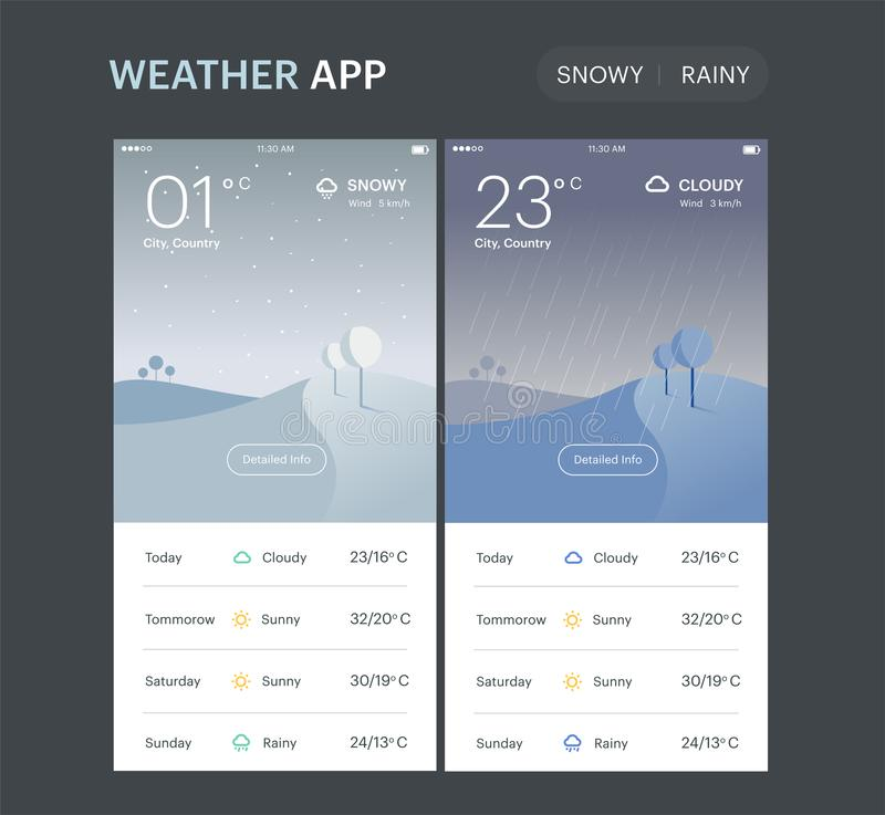 Weather Application Template. Rainy and snowy screens, UI UX app design. Vector layout. stock illustration