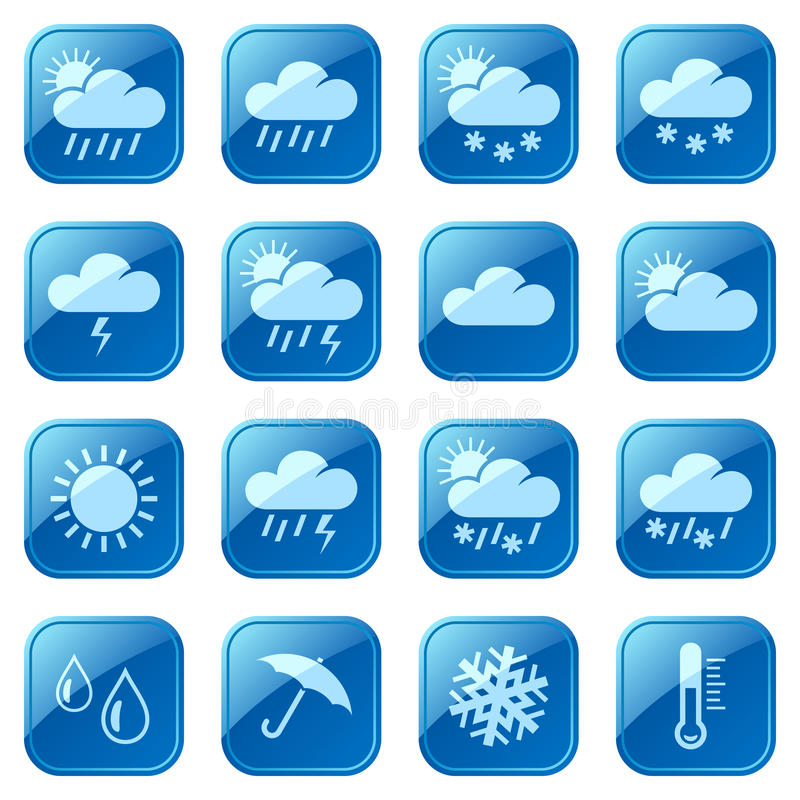 Download Weather blue icons set stock vector. Illustration of isolated - 28849104