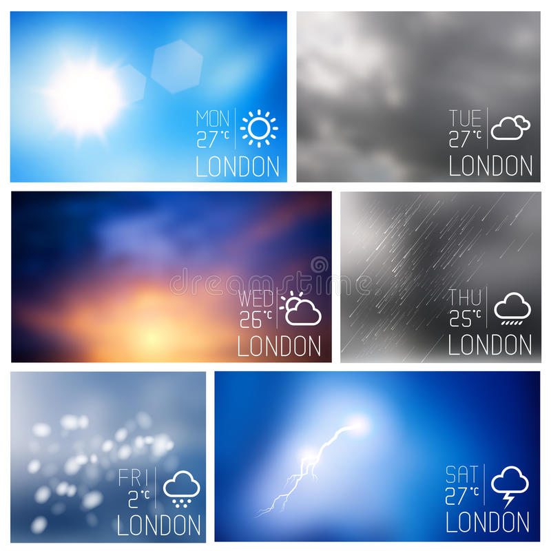 Weather Boxes Vector Set royalty free illustration