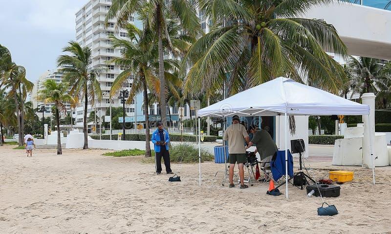Weather Channel crew broadcasting Hurricane Dorian updates. stock photo