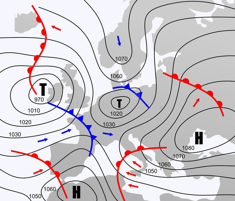 Weather chart. Imaginary weather chart of Europe with isobars stock illustration