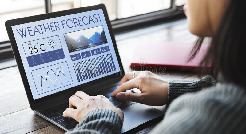 Weather Condition News Report Climate Forecasting Meteorology Te. Mperature Concept stock image