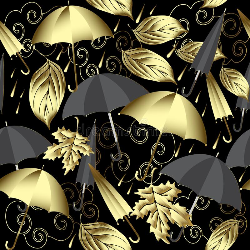 Weather 3d vector seamless pattern. Autumn abstract gold and black background with surface umbrellas, leaf fall, clouds, rain. Vi royalty free illustration