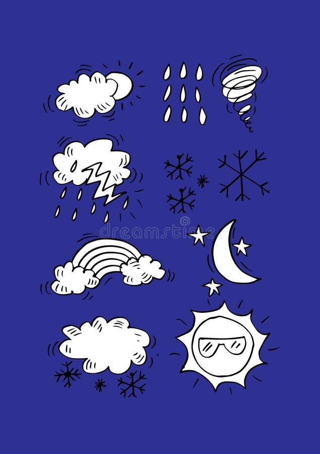 Weather Doodle Set. stock illustration