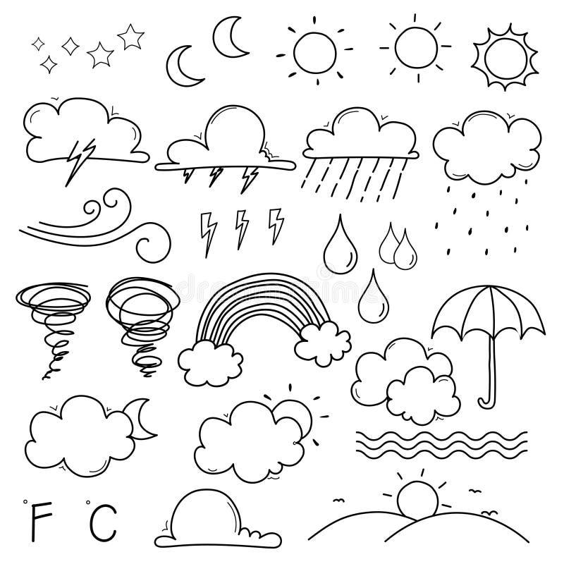 Weather Doodle Vector Set. stock illustration