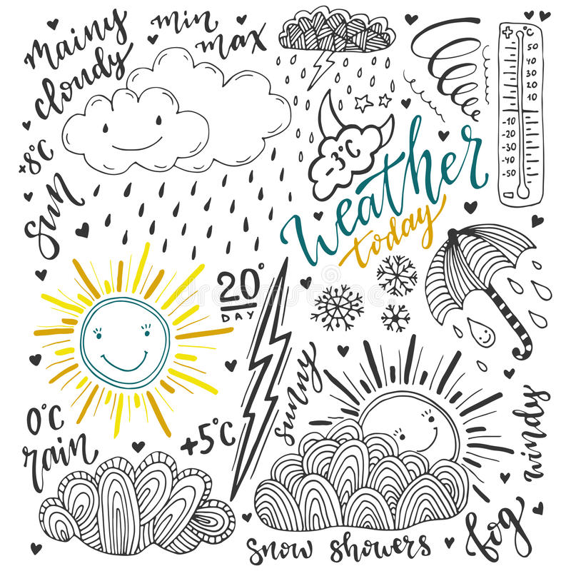 Weather doodles icon set. Hand drawn sketch illustration with lettering stock illustration