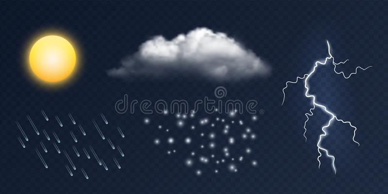 Weather elements. Vector realistic sun, cloud, lighting, rain and snow isolated on transparent background stock illustration