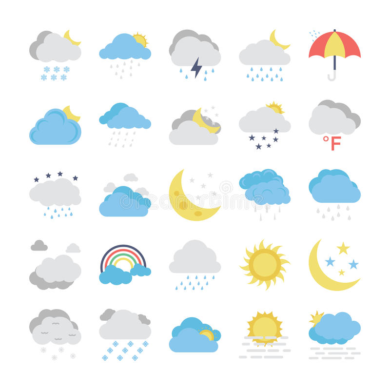 Weather Flat Colored Icons 1 stock illustration