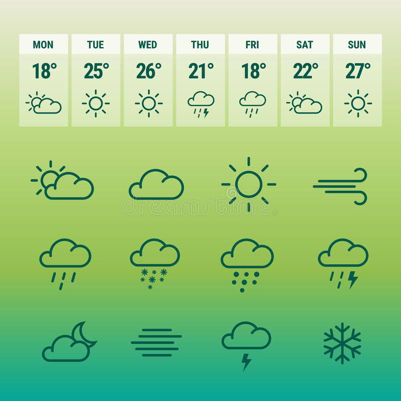 Weather forcast line icons on green. stock illustration