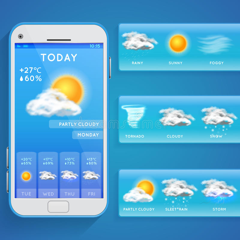 Weather forecast app on smartphone screen and realistic vector icons. Weather app on phone, illustration mobile screen with web forecast weather vector illustration