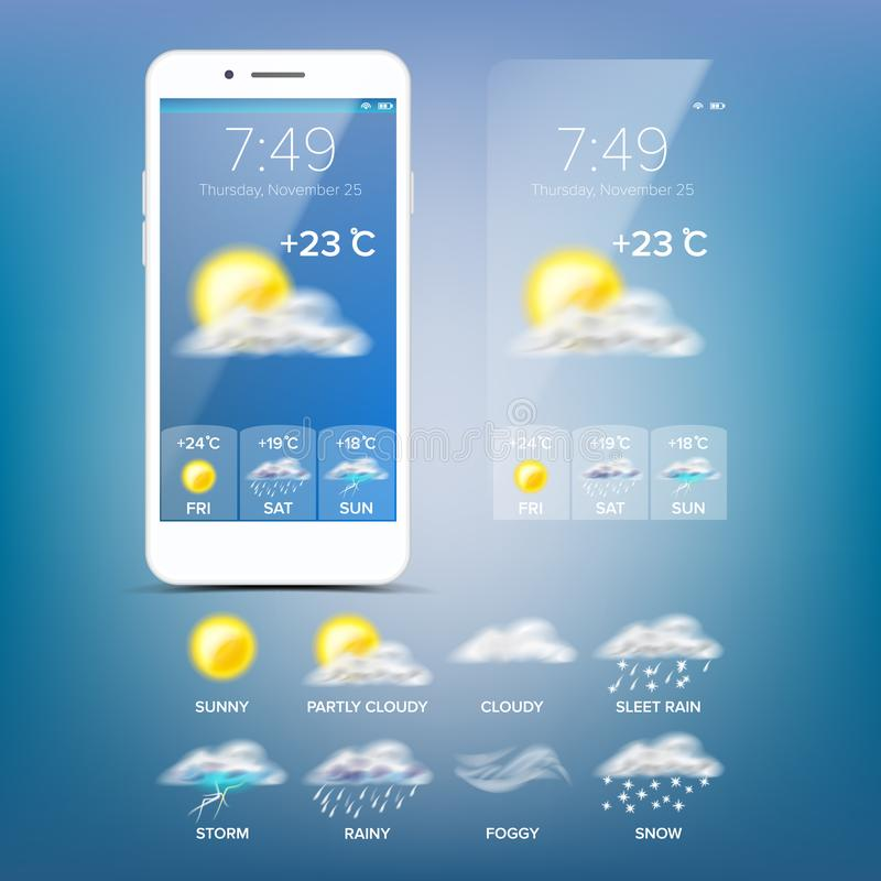 Weather Forecast App Vector. Blue Background. Application Of Science And Technology. State Of The Atmosphere. Weather Forecast App Vector. Realistic Smartphone vector illustration