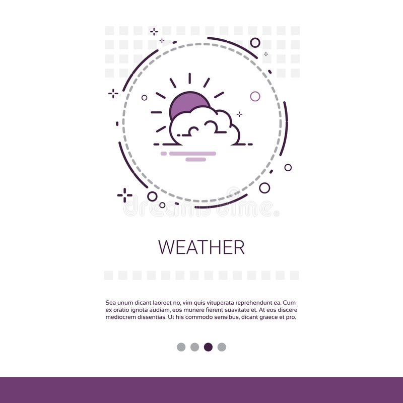 Weather Forecast Application Mobile Interface Web Banner With Copy Space. Vector Illustration stock illustration