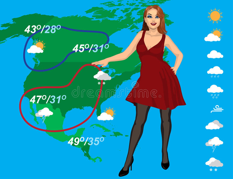 Weather forecast. With beautiful young woman on the map background royalty free illustration