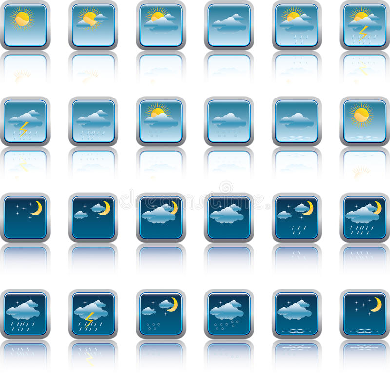 Weather Forecast Buttons Stock Images