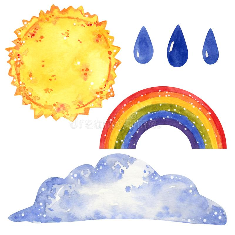 Weather forecast clipart set, sun, cloud, raindrops, rainbow, hand drawn watercolor. Illustration isolated on white stock image