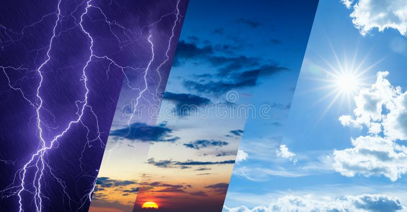Weather forecast concept, collage of variety weather conditions royalty free stock photo