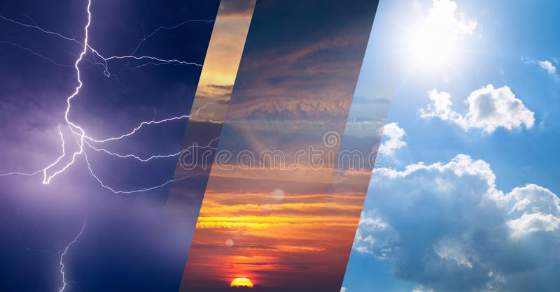 Weather forecast concept, collage of variety weather conditions vector illustration