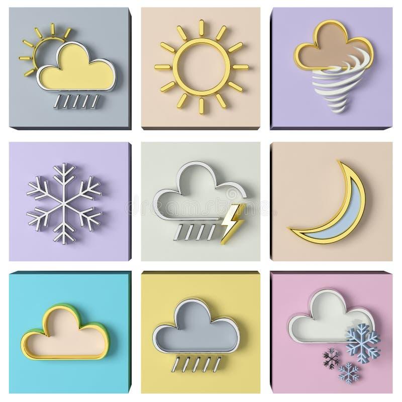 Weather forecast 3d set vector illustration