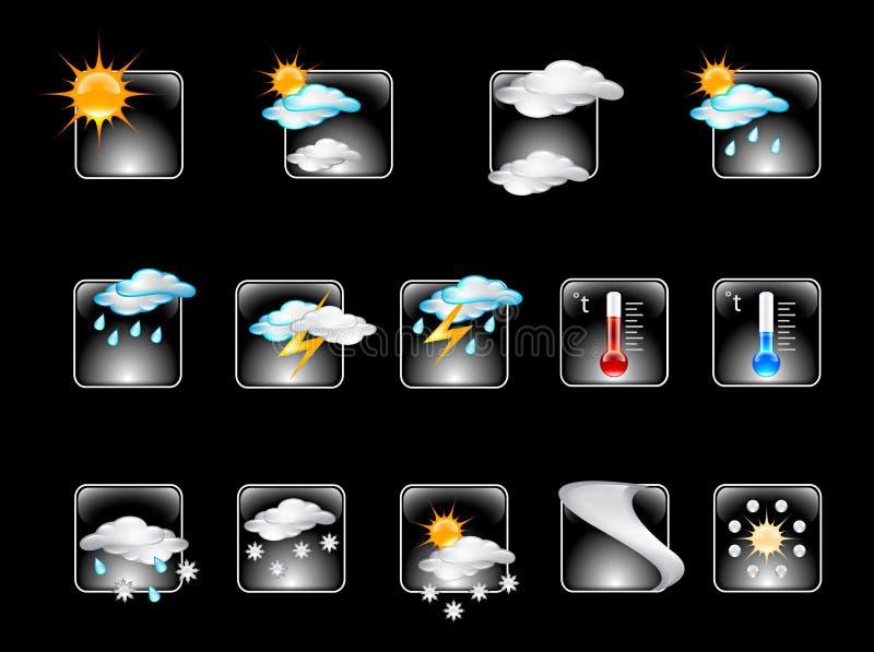 Weather Forecast Glossy Vector Icon Set V.01 Stock Image