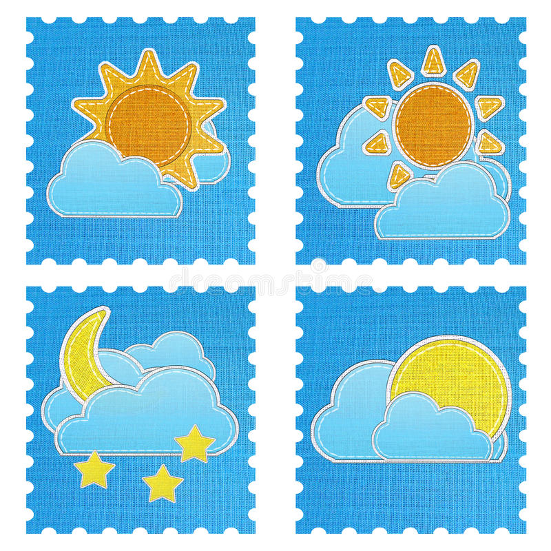 Weather forecast icon in fabric style . Set of weather forecast icon in fabric style royalty free stock images