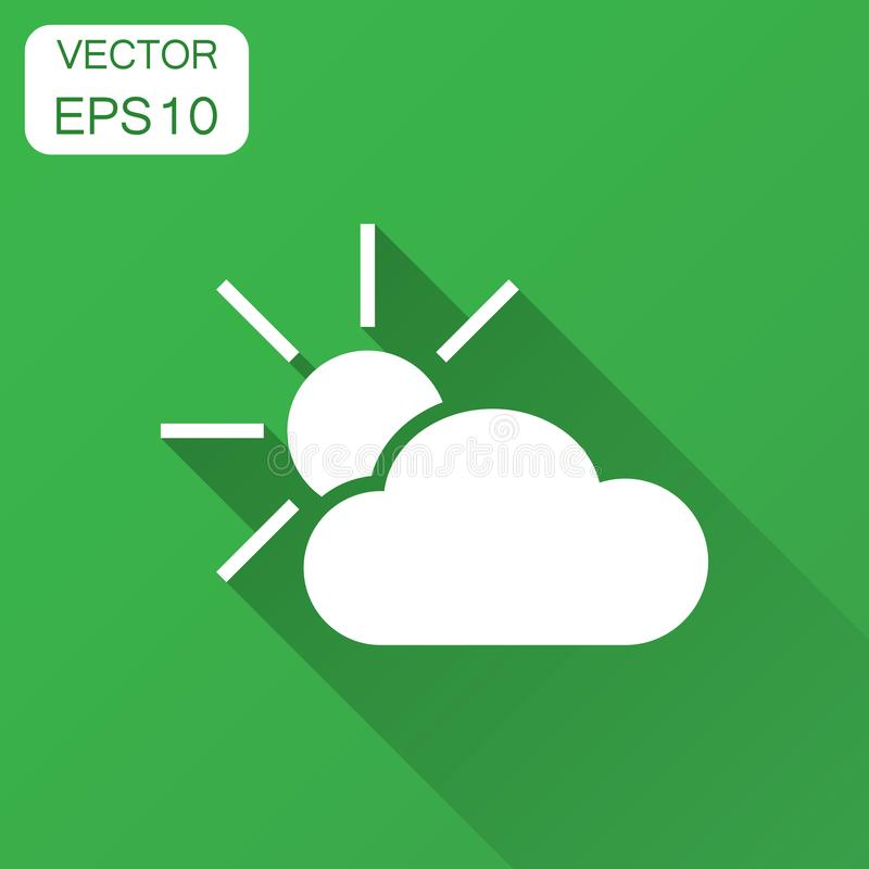 Weather forecast icon in flat style. Sun with clouds illustration with long shadow. Forecast sign concept. vector illustration
