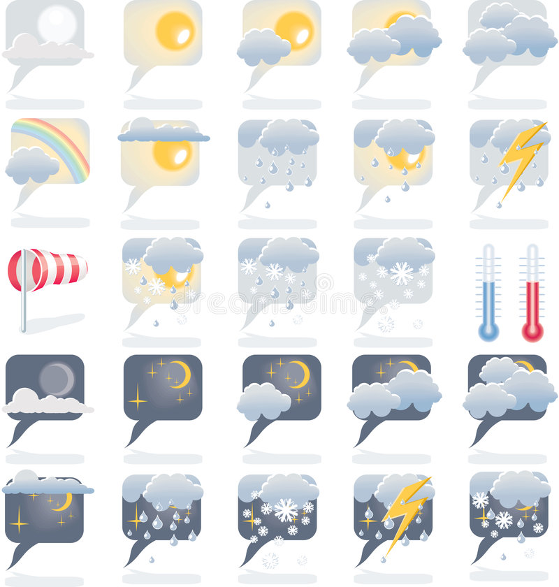 Free Weather Forecast Icon Set Stock Image - 8174561