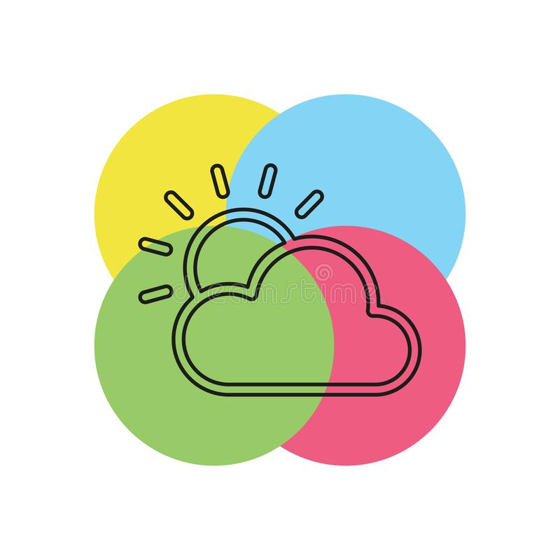 Weather forecast icon, vector seasons clouds. Cloudy weather. Thin line pictogram - outline stroke royalty free illustration