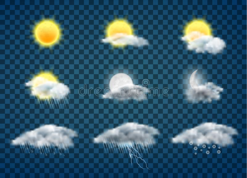 Weather forecast icons realistic vector set. Day and night weather forecast app realistic vector icons set isolated on transparent background. Sun and moon in vector illustration