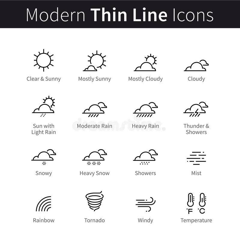 Weather forecast infographic icons set with sky and clouds conditions, temperature vector illustration
