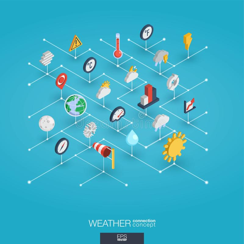Weather forecast integrated 3d web icons. Digital network isometric concept. Weather forecast integrated 3d web icons. Digital network isometric interact stock illustration