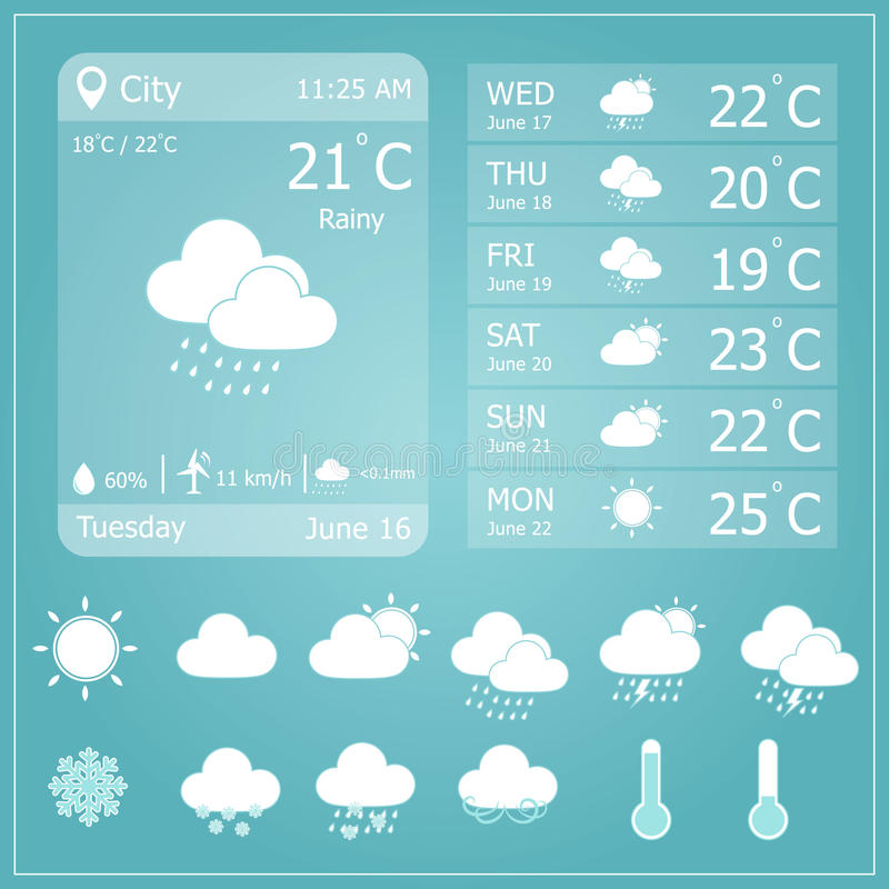 weather forecast interface template stock vector illustration of snow climate 53642569. Black Bedroom Furniture Sets. Home Design Ideas