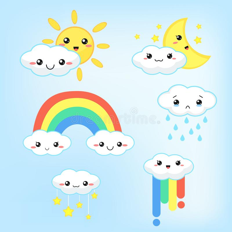 Weather forecast kawaii cartoon rainbow clouds, sun and moon that look cute and colorful.  vector illustration