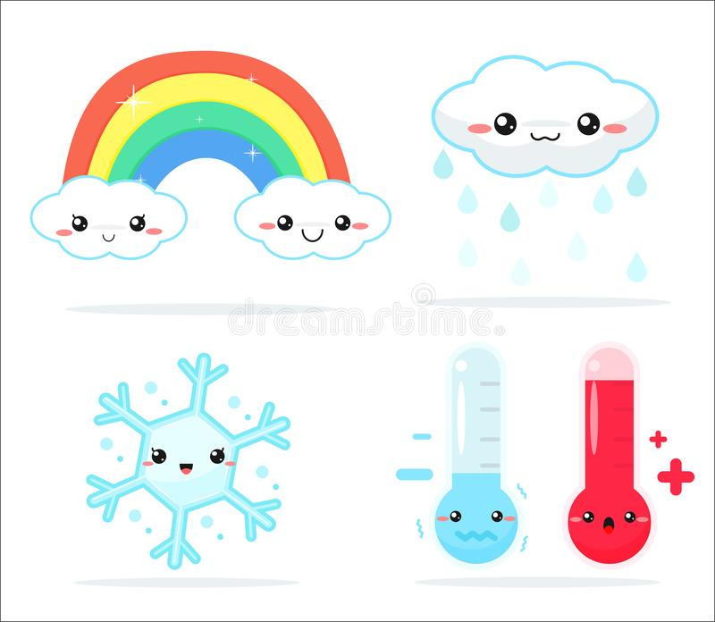 Weather forecast kawaii cartoon rainbow clouds, sun and moon that look cute and colorful.  royalty free illustration