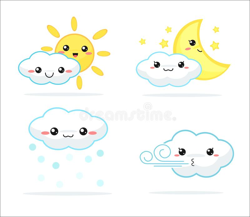 Weather forecast kawaii cartoon rainbow clouds, sun and moon that look cute and colorful royalty free illustration