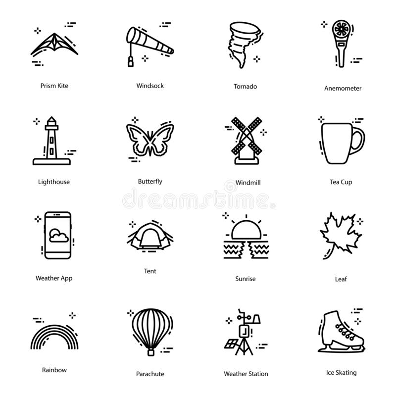 Weather Forecast Line Icons Pack. Here we come up with mesmerising weather forecast vectors in line design for your weather, metrology and several other royalty free illustration