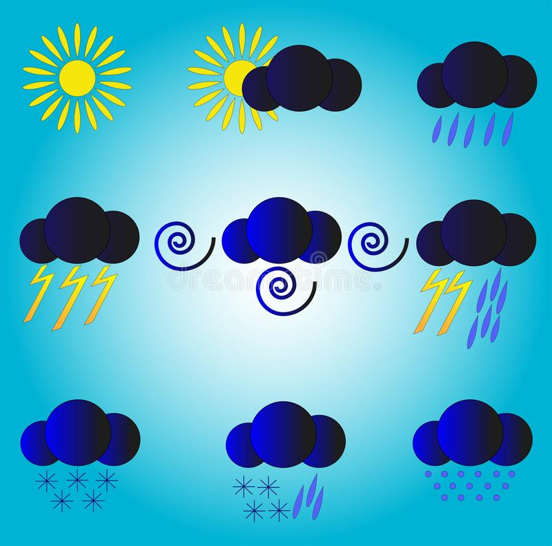 Weather forecast.Meteorological forecast. Icons for a weather forecast stock illustration