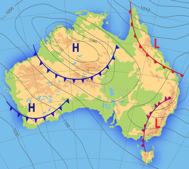 Weather forecast. Meteorological weather map of the AUSTRALIA. Realistic synoptic map Australia with aditable generic vector illustration