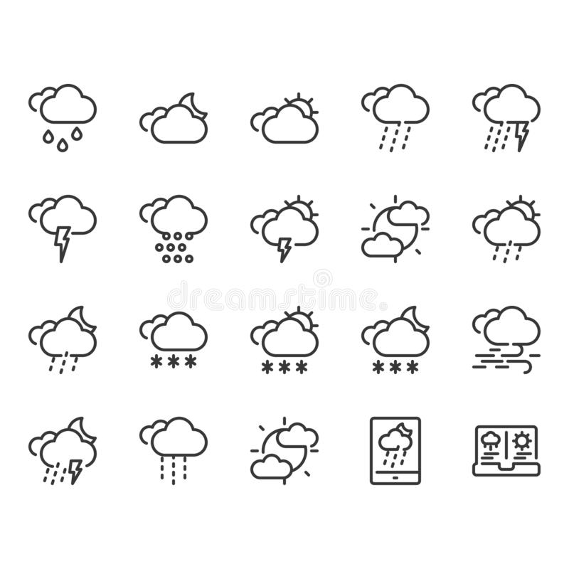 Weather icon set.Vector illustration royalty free illustration