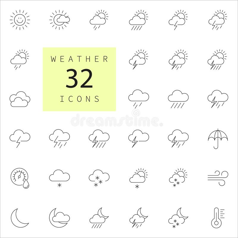Weather forecast - outline web icon set. Vector, thin line icons collection - Vector stock illustration