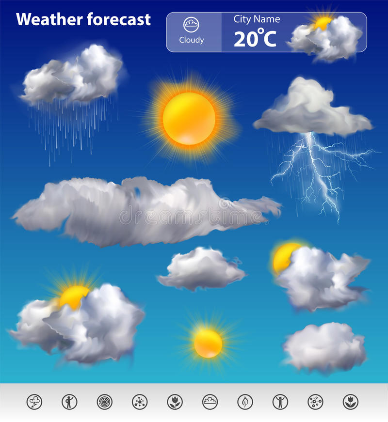 Weather forecast. Realistic weather forecast widget mobile application program layout template vector illustration stock illustration