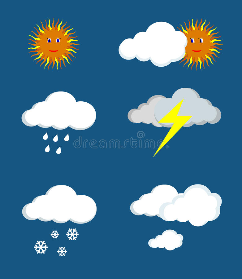 Weather forecast. Signs - sun, clouds, rain, snow, thunder, storm royalty free illustration