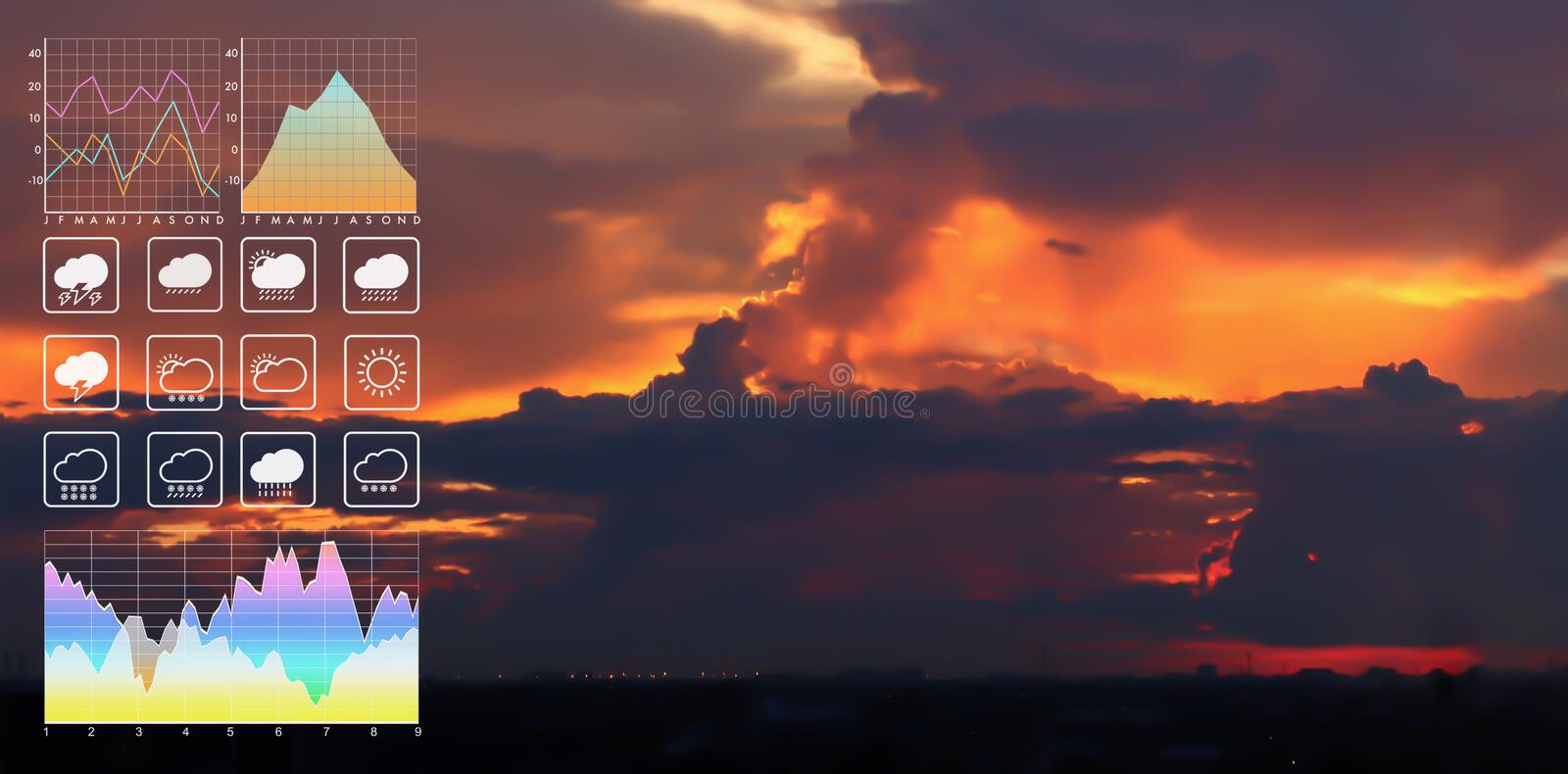 Weather forecast symbol data presentation with graph and chart. Weather forecast symbol data presentation with graph and chart on summer twilight tropical royalty free stock images