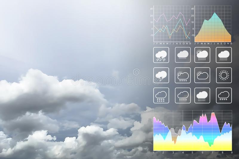 Weather forecast symbol data presentation with graph and chart. Weather forecast symbol data presentation with graph and chart on tropical storm background royalty free stock photography